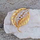 Vintage Leaf Brooch, Rhinestone Accented Cut Out Leaf Pin