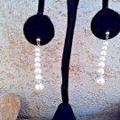 Long Faux Pearl Dangle Post Earrings, Graduated Stacked Faux Pearl Earrings