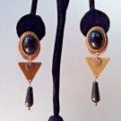 Modernist Onyx Dangle Earrings Copper Brass Onyx Cabochon Pierced Earrings