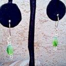 Green Art Glass Dangle Earrings, Vintage Marbled Art Glass Pierced Earrings
