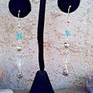 Blue Bead Dangle Earrings,  Long 2 inch Silver Tone Beaded Pierced Earrings