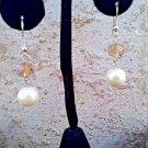 Yellow Bead Faux Pearl Dangle Earrings, Faceted Glass Bead Pearl Pierced Earring