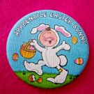 Hallmark Easter Bunny Pinback Vintage 1970s Whimsical Fun Easter Bunny Button
