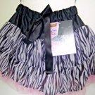 Zebra Ruffle Skirt, Black White Chiffon Ballerina Tutu Skirt, Sz Small 2T to 4T