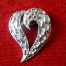 Heart Brooch Textured Diamond Cut Finish Silver Tone Unsigned Valentines Day Pin