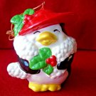 Lady Penguin Christmas Ornament, 1985 Toots Penguin Holly Red Hat Ornament