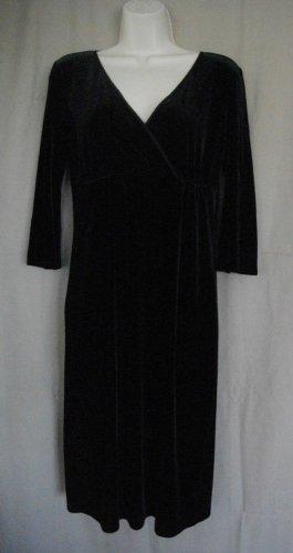 Studio M Black Polyester Spandex Small Crossover 3/4 Sleeves Formal Dress