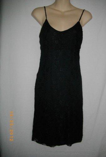 Armani Exchange Small Black Lace Spaghetti Strap U Neck Pullover Cocktail Dress