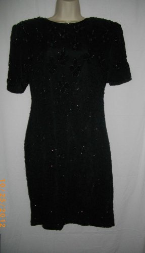 Malvin Medium M Black Short Sleeves Silk Sequins Beads Cocktail Dress