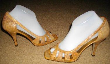 Anne Klein AK Novia Style Sandals 8.5 8 1/2 Caramel High Heel Cut Out Shoes New