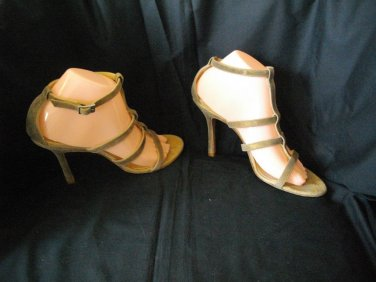 Kenneth Cole New York 8 Beige Strappy Sandals Open Toe 4 Inches High Heel Shoes