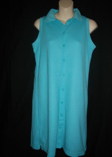 New York and Company NY&Co 8 Medium M Cotton Button Down Turquoise Blue Dress