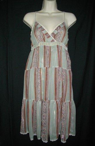 Lux Sleeveless Small S Halter Summer Sage V Neckline Viscose Tiered Dress