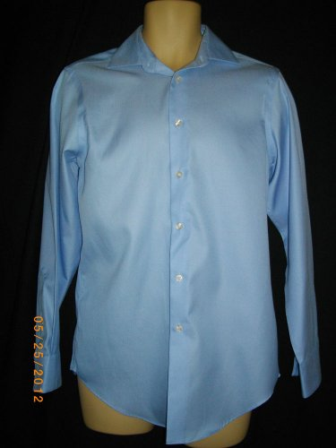 CK Calvin Klein Medium 15/32-33 Button Front Blue Cotton Long Sleeve Dress Shirt
