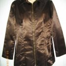 Bisou Bisou Dark Brown Small S Nylon Zipper Jacket Long Sleeve Blazer Coat