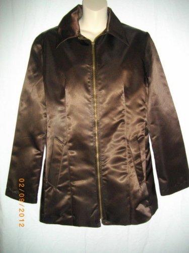 Bisou Bisou Dark Brown Small S Nylon Zipper Jacket Long Sleeve Blazer Coat