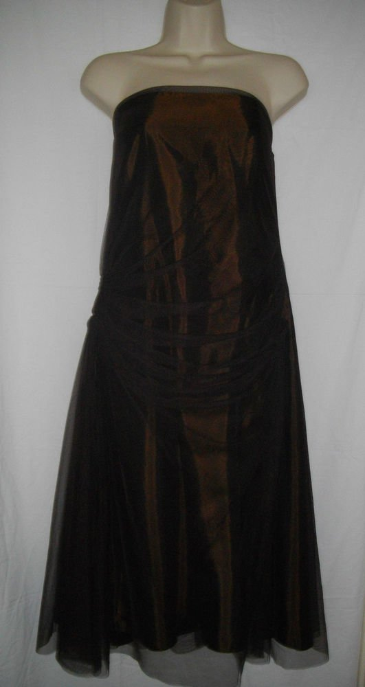 Vera Wang Maids Dress 14 Large L Dark Brown Sleeveless Lace Prom Overlay Halter