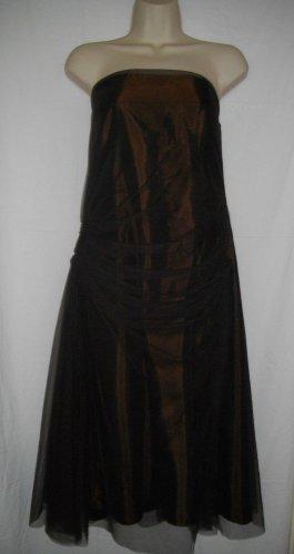 Vera Wang Maids Dress 14 Large L Dark Brown Sleeveless Lace Prom Overlay Halter