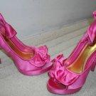 Bebe Fuchsia Shoes 6M 6 M High Heels Ruffled Stilettos