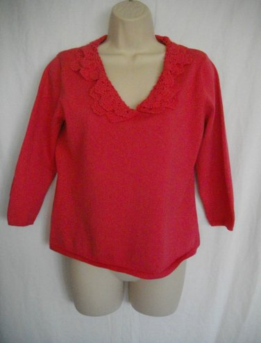 Pierre Cardin Medium M Melon Pullover Cotton Crochet Collar 3/4 Sleeves Sweater