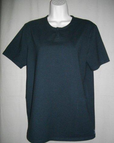 Armani Exchange Large Black Top Cotton Spandex One Button Short Sleeve T Shirt