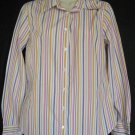 J. Crew Medium Multicolored Stripe Top Long Sleeve Blouse Cotton Slim Fit Shirt