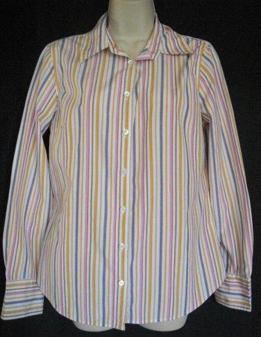 J. Crew Medium Multicolored Stripe Top Long Sleeve Blouse Cotton Slim Fit Shirt