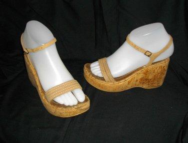 """Two Lipps Cognac 8 Medium Width Caramel Wedge Cork Shoes High Heel 4"""" Sandals"""