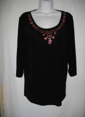 Black Unbranded XS X Small Stretch Red Beaded Blouse Pullover Scoop Neckline Top