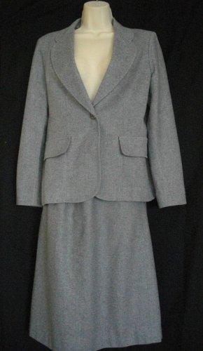 Loubella Extendables Medium M Vintage Wool Gray A Line 2 Piece Jacket Skirt Suit