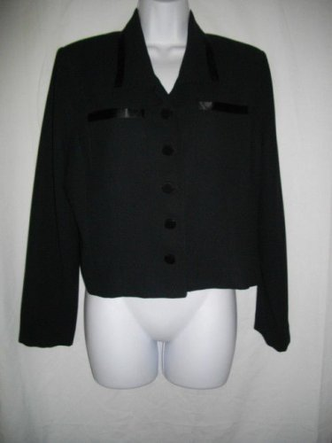 Laundry by Shelli Segal 12 Black Button Front Jacket Polyester Rayon Top Blazer