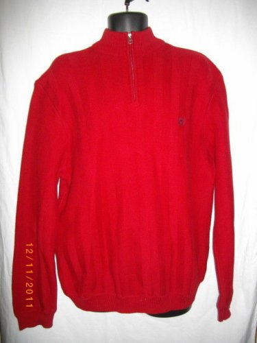 Chaps Mens XL/TG/EG Extra Large XL Red Long Sleeves Cotton Zipper Crest Sweater