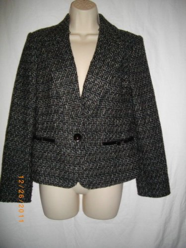 Caslon 10 Medium M Blue Black Acrylic Polyester Single Breasted Jacket Blazer