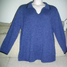 Elisabeth by Liz Claiborne 1X Cotton Acrylic Extra Large Blue Black Trim Sweater