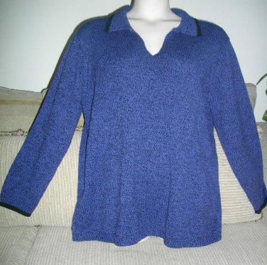 Elisabeth by Liz Claiborne 1X Cotton Acrylic Extra Large Blue Black Trim Sweater