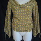 Liya Cinamone Medium Zero Yellow Gray Pullover Drape Blouse Casual Geometric Top