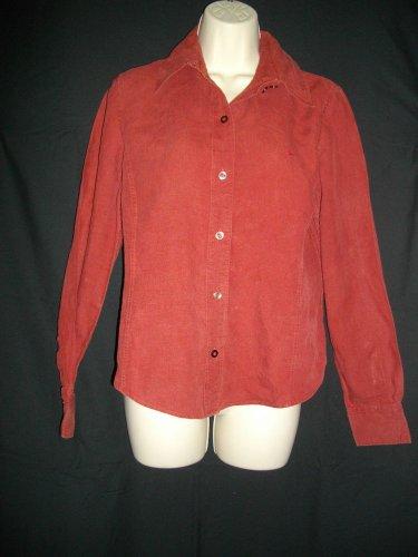 Faconnable Medium Red Blouse Button Front Linen Shirt Long Sleeve Curved Hem Top