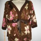 Celine by Champion Large L 3/4 Sleeves Brown Floral Kimono V Neck Blouse Top