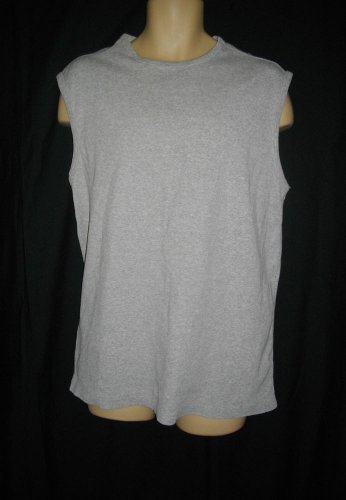 Perry Ellis XL Extra Large Light Gray Cotton Shirt Spandex Sleeveless Tank Top