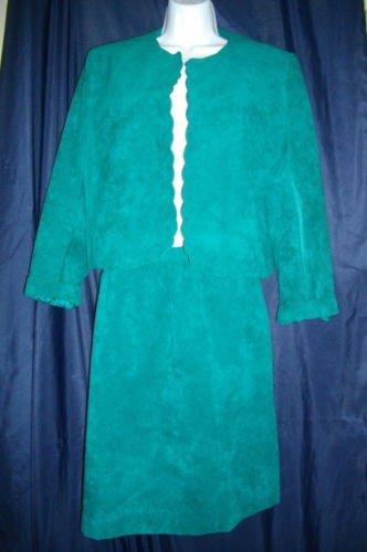 Adolph Shuman Lilli Ann Large Green  2 Piece Set Suit Suede Skirt Jacket Blazer