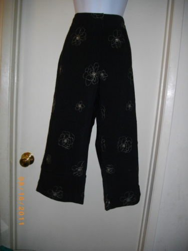 Black White Versailles 10 Medium Crop Pants Above Ankle Casual Rayon Polyester Trousers