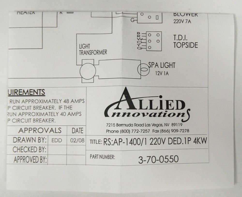 Allied Innovations 3 70 0550 Wiring Diagram Ap 1400 Rs1400 1 220v 220 Circuit Breaker Ded 1p 4kw