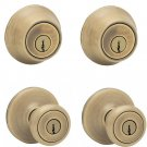 Kwikset 690T Antique Brass Tylo Keyed Entry Combo Set LOT OF 2 SETS