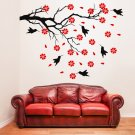 (55''x41'') Vinyl Wall Decal Tree with Birds and Flowers / Art Decor Stickers + Free Decal Gift