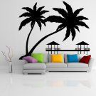 (39''x32'') Vinyl Wall Decal Paradise with Palms & Bungalows / Art Decor Sticker + Free Decal Gift!