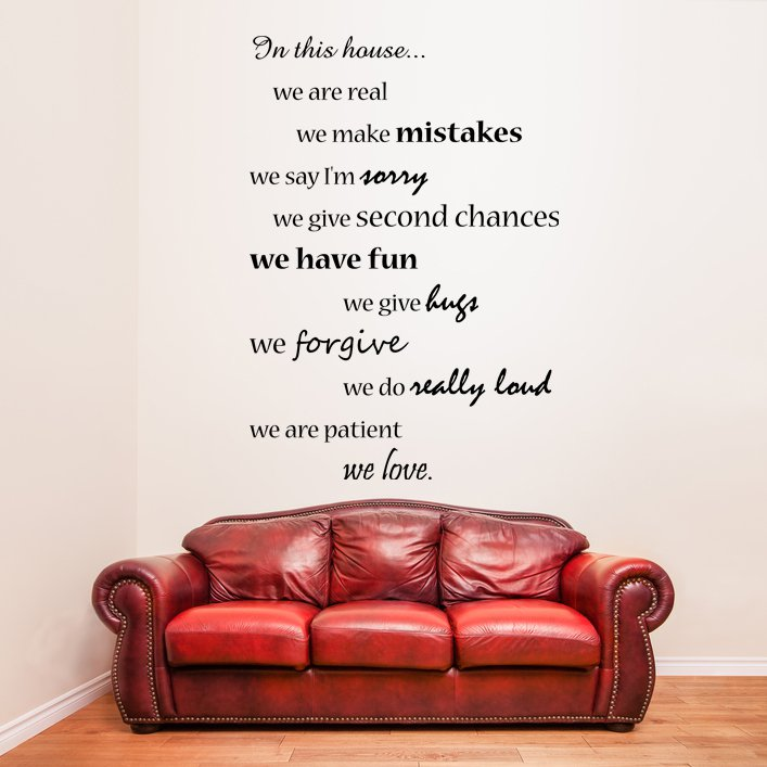 (25''x35'') Vinyl Wall Decal Quote In this House We Are Family, Art Decor Sticker + Free Decal Gift!