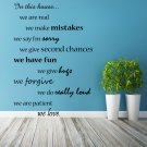 (55''x79'') Vinyl Wall Decal Quote In this House We Are Family, Art Decor Sticker + Free Decal Gift!