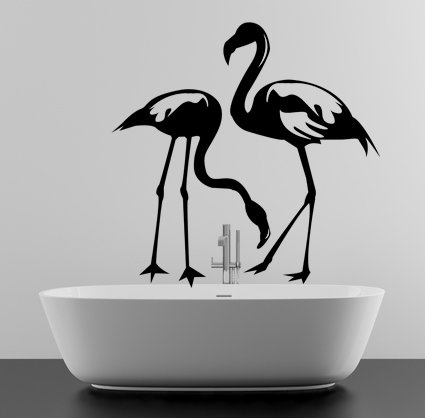 (39''x39'') Vinyl Wall Decal Flamingo Couple Birds Romantic Love Art Decor Sticker + Free Decal Gift