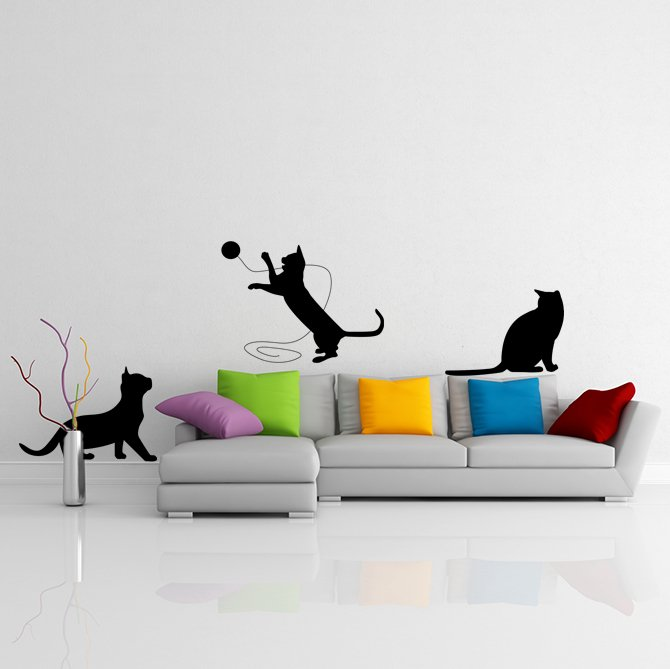 (35''x13'') Vinyl Wall Decal Cute Cats Playing / Happy 3 Kittens Art Decor Sticker + Free Decal Gift