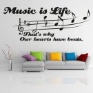 """(24''x9'') Vinyl Wall Decal Quote """"Music Is Life"""" / Art Decor Home Sticker + Free Decal Gift!"""